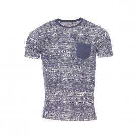 Tee-shirt col rond Trojan MC Teddy Smith à motif rainures de bois bleu marine et blanc cassé