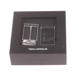 Coffret ceinture ajustable Ted Lapidus en cuir noir : 1 boucle noire et argentée à ardillon gravée, 1 boucle pleine noire et argentée gravée