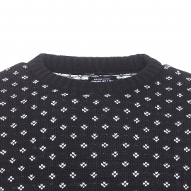 Pull col rond The Fresh Brand noir à motifs blancs