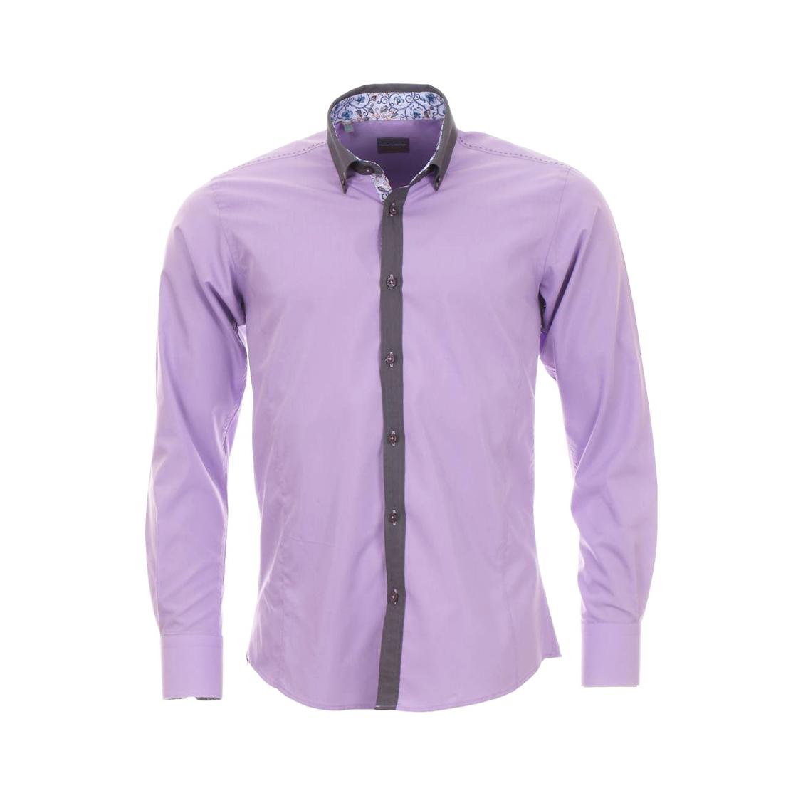 Chemise homme cintrée  lila à col gris et opposition motif à fleurs