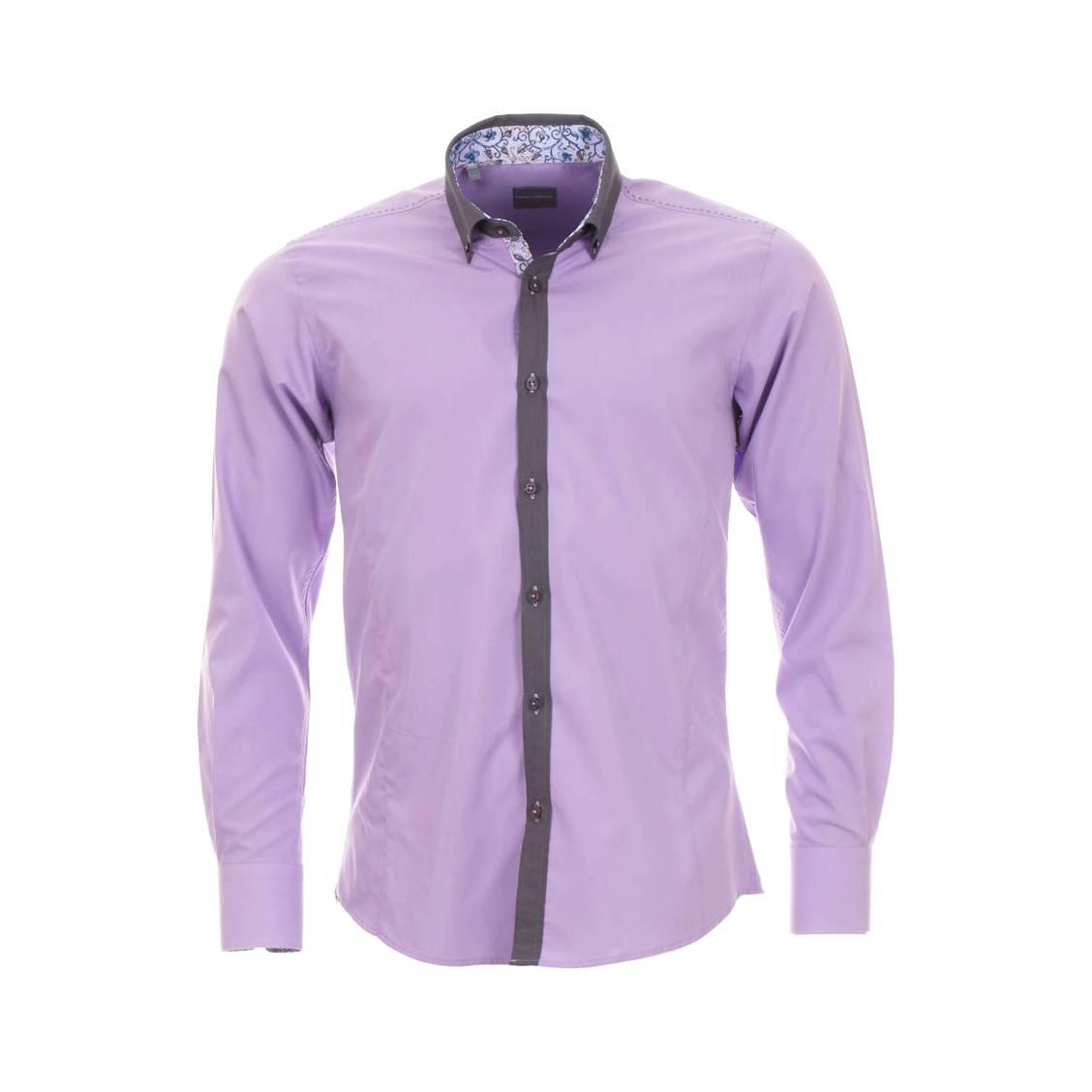 Chemise homme cintrée Toldot lila à col gris et opposition motif à fleurs