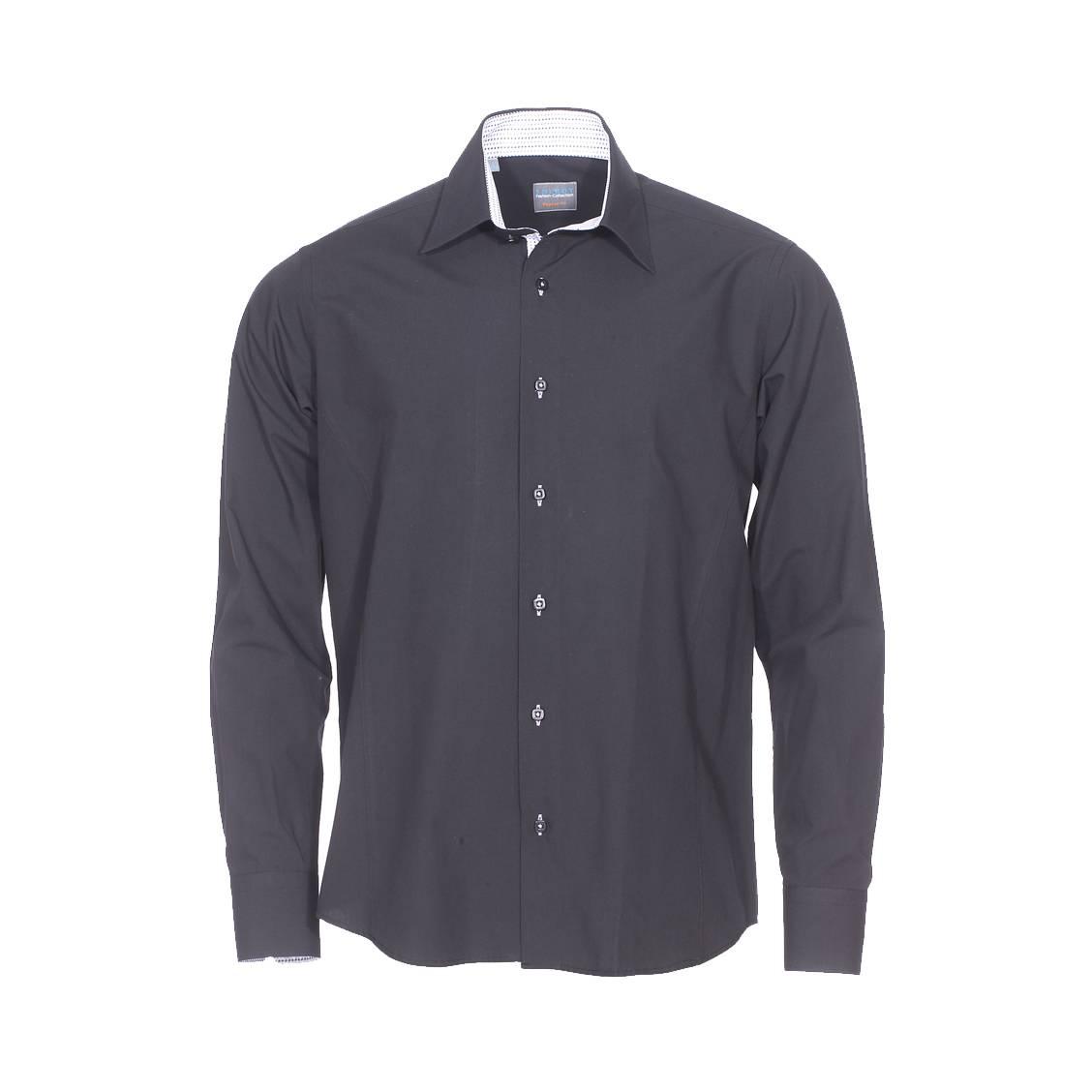 Chemise droite  en coton noir à opposition blanche à petits motifs