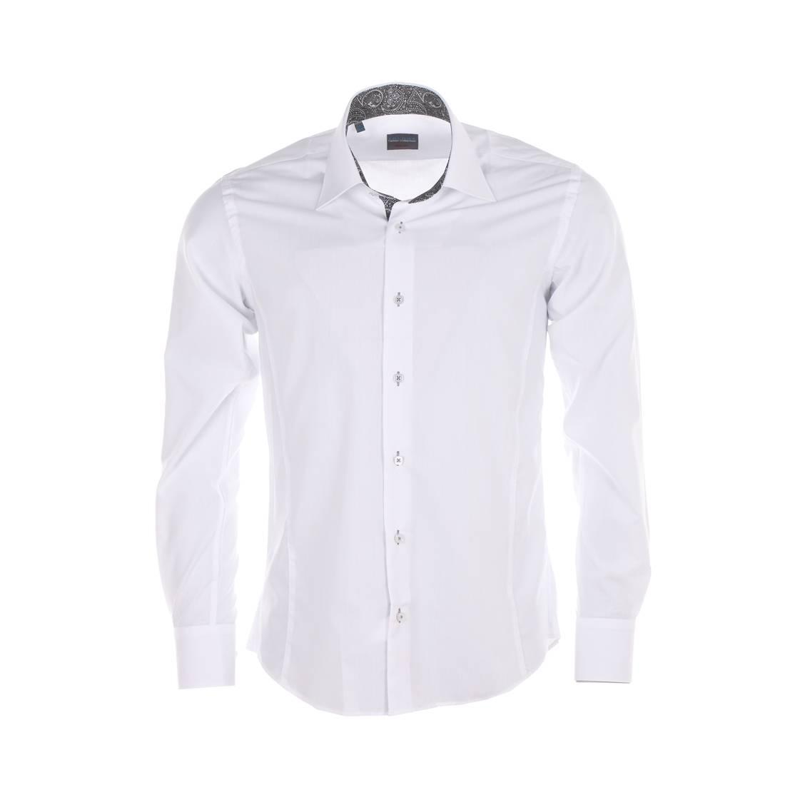 Chemise droite  blanche, à opposition cachemire