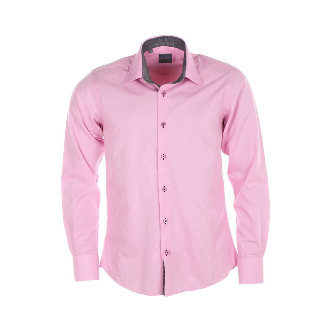 Chemise droite  rose à opposition grise à pois blancs