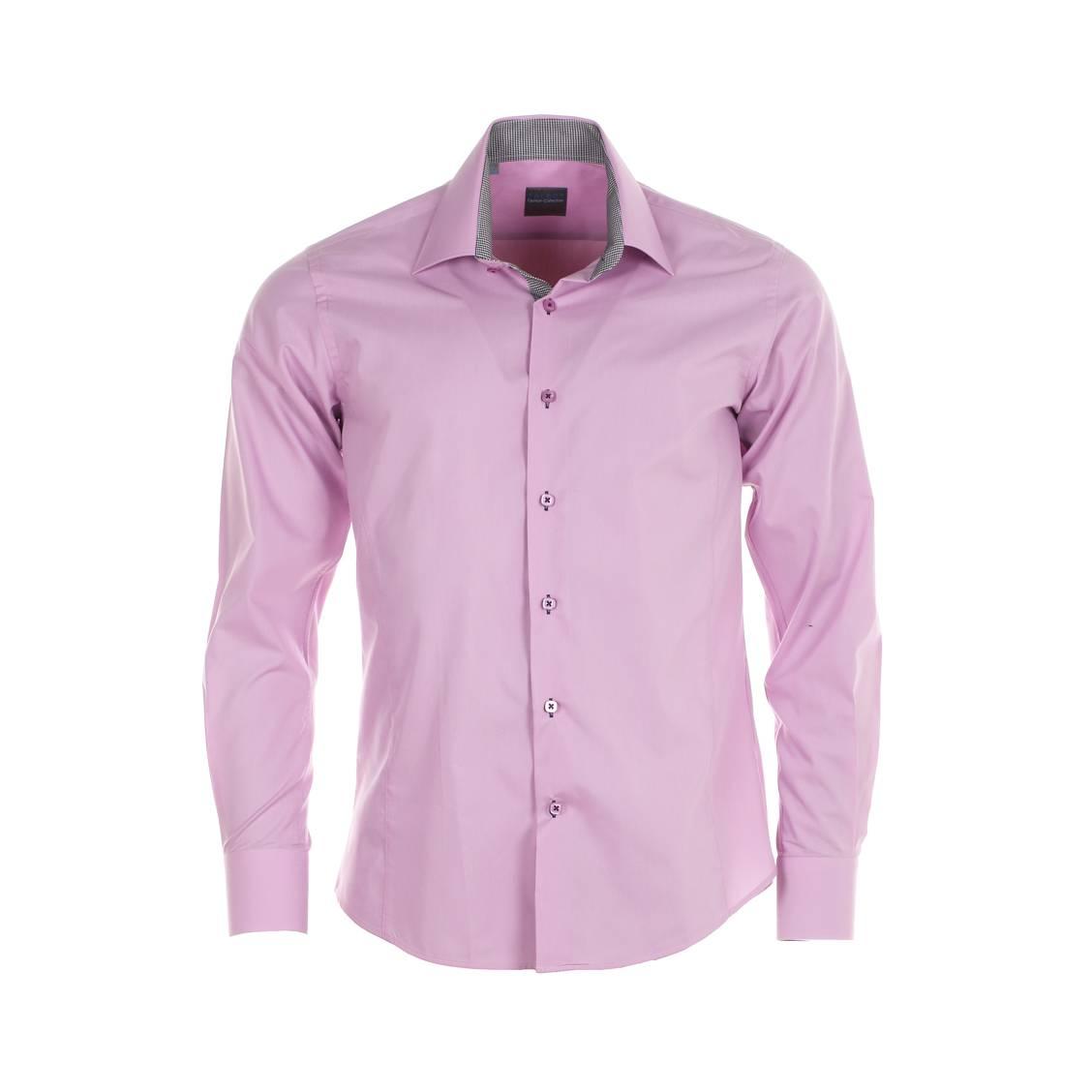 Chemise homme cintrée Toldot rose, à opposition motifs pieds de poule. Coton (65%), Polyester (35%)Coupe cintréePoignets cass&eac