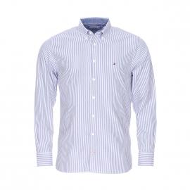 Chemise droite Tommy Hilfiger en coton à rayures blanches et bleues