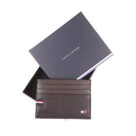 Porte-cartes Tommy Hilfiger en cuir grainé et lisse marron