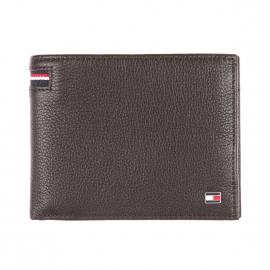 Portefeuille italien Tommy Hilfiger à 2 volets en cuir grainé marron, porte-monnaie intégré