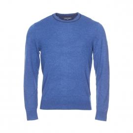 Pull col rond Tommy Hilfiger en laine mélangée bleu cobalt chiné