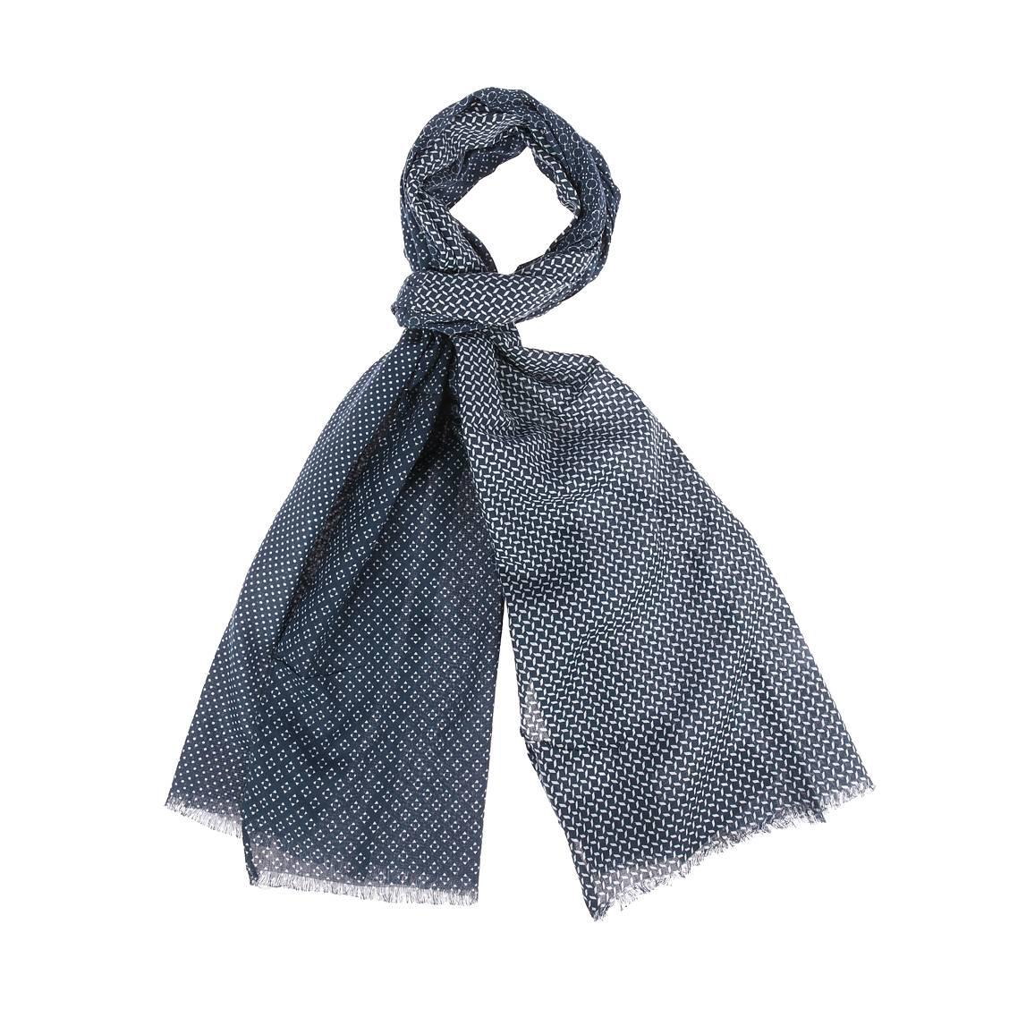 Chèche  en coton bleu acier à motifs blancs