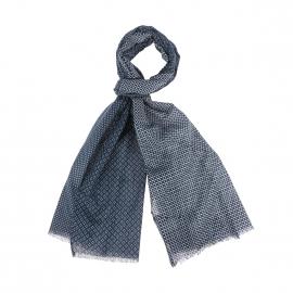 Chèche Tommy Hilfiger en coton bleu acier à motifs blancs