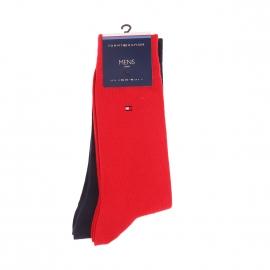 Lot de 2 paires de chaussettes hautes Tommy Hilfiger rouge et bleu marine