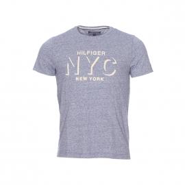 Tee-shirt col rond Tommy Hilfiger en mélange de coton bleu jean effet flammé