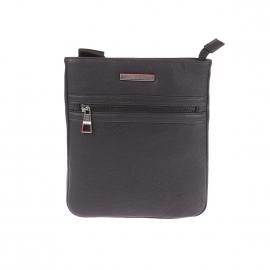 Sacoche plate Essential Tommy Hilfiger en simili-cuir texturé noir