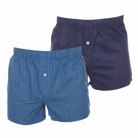 Lot de 2 caleçons Tommy Hilfiger en popeline : 1 modèle bleu impérial à carreaux bleu marine et 1 modèle uni bleu marine