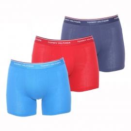 Lot de 3 boxers longs Tommy Hilfiger en coton bleu marine, bleu azur et bordeaux