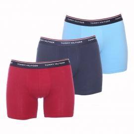 Lot de 3 boxers longs Tommy Hilfiger en coton stretch rouge foncé, bleu marine et bleu glacier