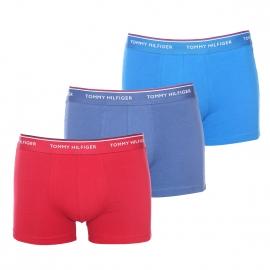 Lot de 3 boxers Tommy Hilfiger en coton stretch rouge, bleu azur et bleu jean