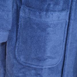 Peignoir de bain Tommy Hilfiger bleu à col châle brodé sur la manche