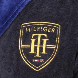 Peignoir de bain Tommy Hilfiger bleu nuit brodé, col châle en velours bleu roi