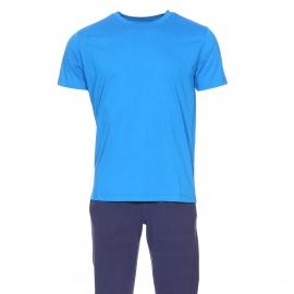 Pyjama long Tommy Hilfiger : Tee-shirt manches courtes bleu impérial et pantalon bleu marine