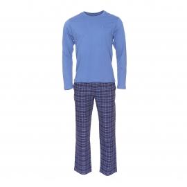 Pyjama long Tommy Hilfiger : Tee-shirt manches longues bleu ardoise et pantalon à carreaux