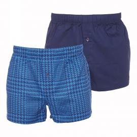 Lot de 2 caleçons Tommy Hilfiger en popeline : 1 modèle bleu marine à imprimés pied de poule indigo et 1 modèle uni bleu marine