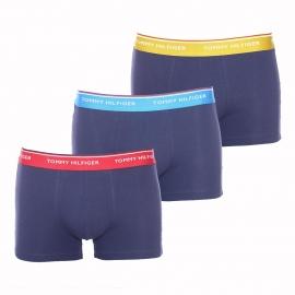 Lot de 3 boxers Tommy Hilfiger en coton bleu marine à ceinture bordeaux, bleu clair et jaune doré