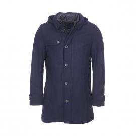 Manteau à capuche amovible Tom Tailor en laine mélangée bleu marine, doublure matelassée noire