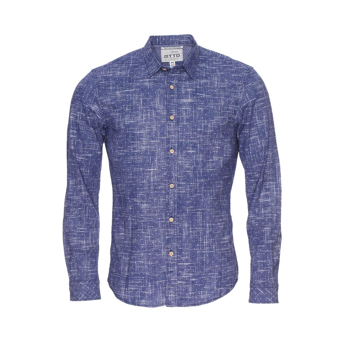 Chemise ajustée  bleu effet jean à motifs blancs