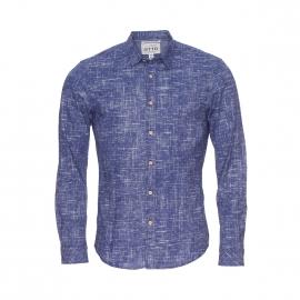 Chemise ajustée Tom Tailor bleu effet jean à motifs blancs