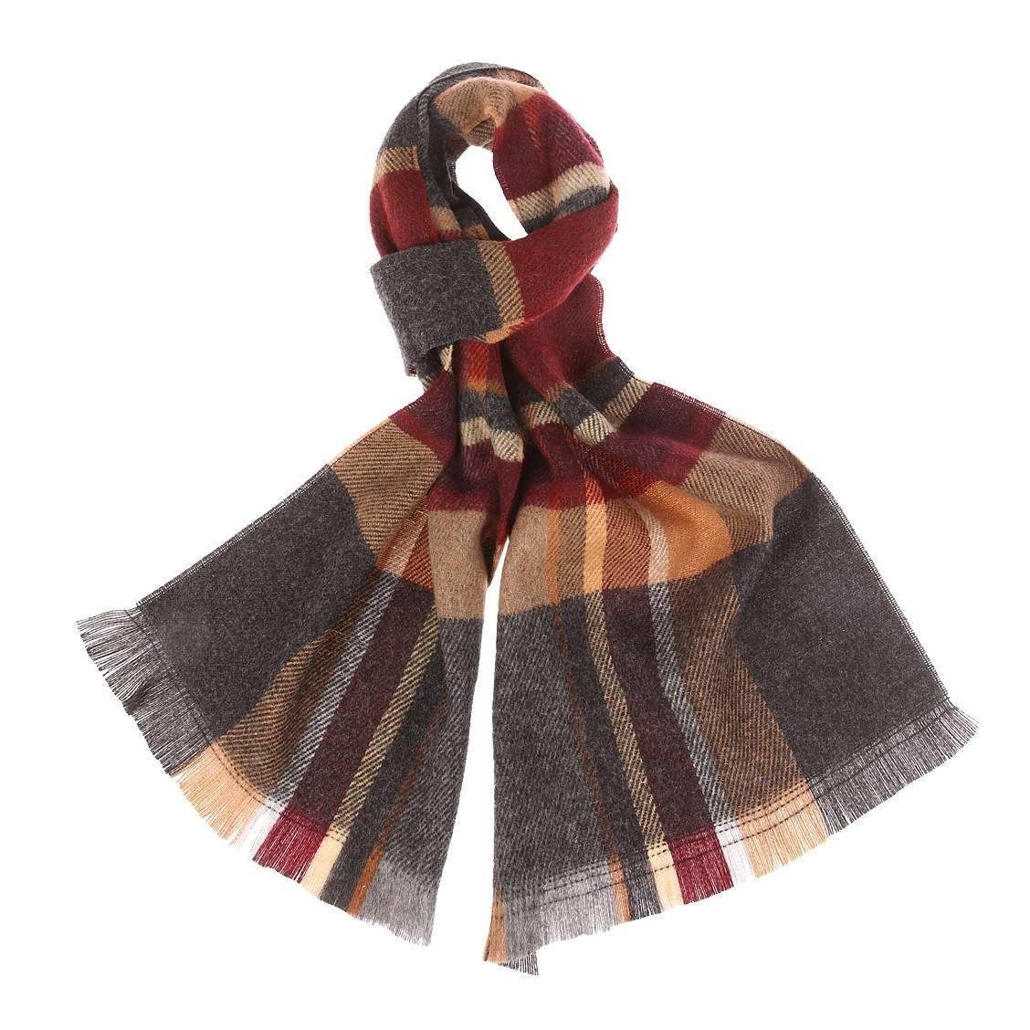 Écharpe à carreaux bordeaux, gris et camel