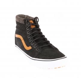 Baskets hautes SK8-HI MTE Vans en croute de cuir noir à bandes marron clair