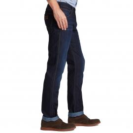 Jean droit Greensboro Wrangler bleu foncé traitement Cool max