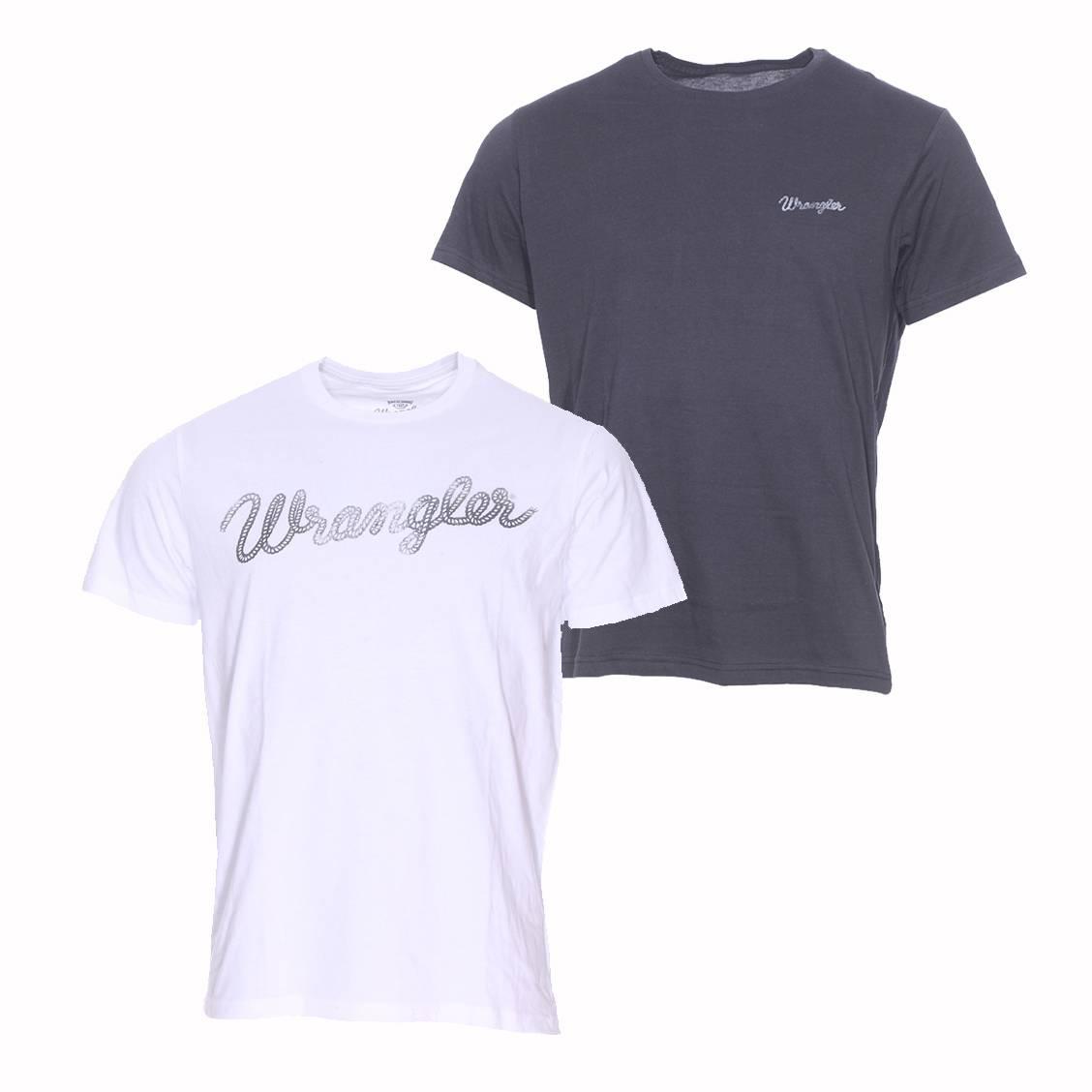 Lot de 2 tee shirts col rond  en coton blanc et noir floqué
