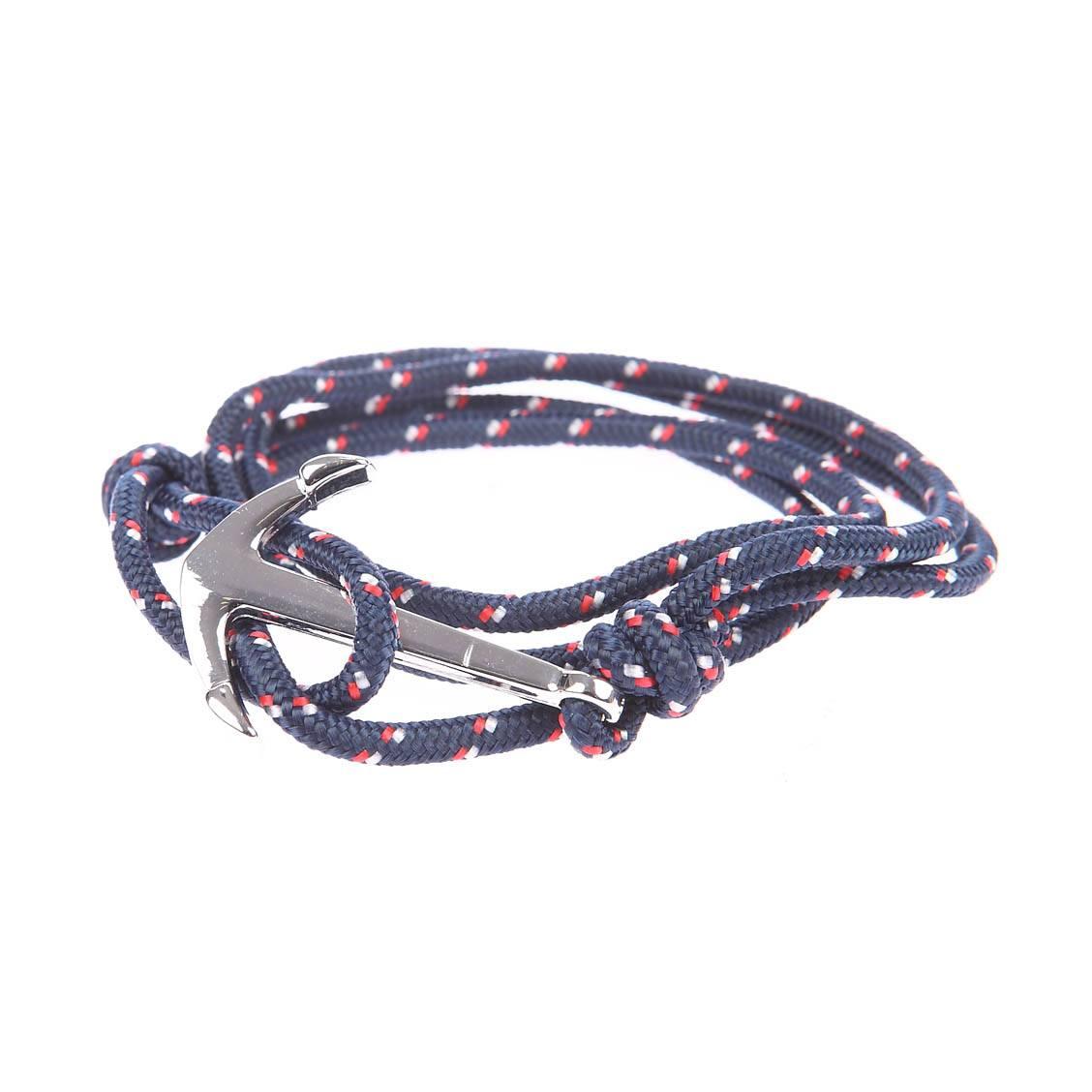 bracelet-lucleon-bleu-marine-a-motifs-rouges-et-gris-ferme-par-une-ancre-argentee