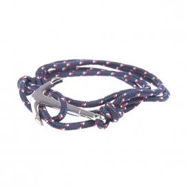 Bracelet Lucléon bleu marine à motifs rouges et gris fermé par une ancre argentée