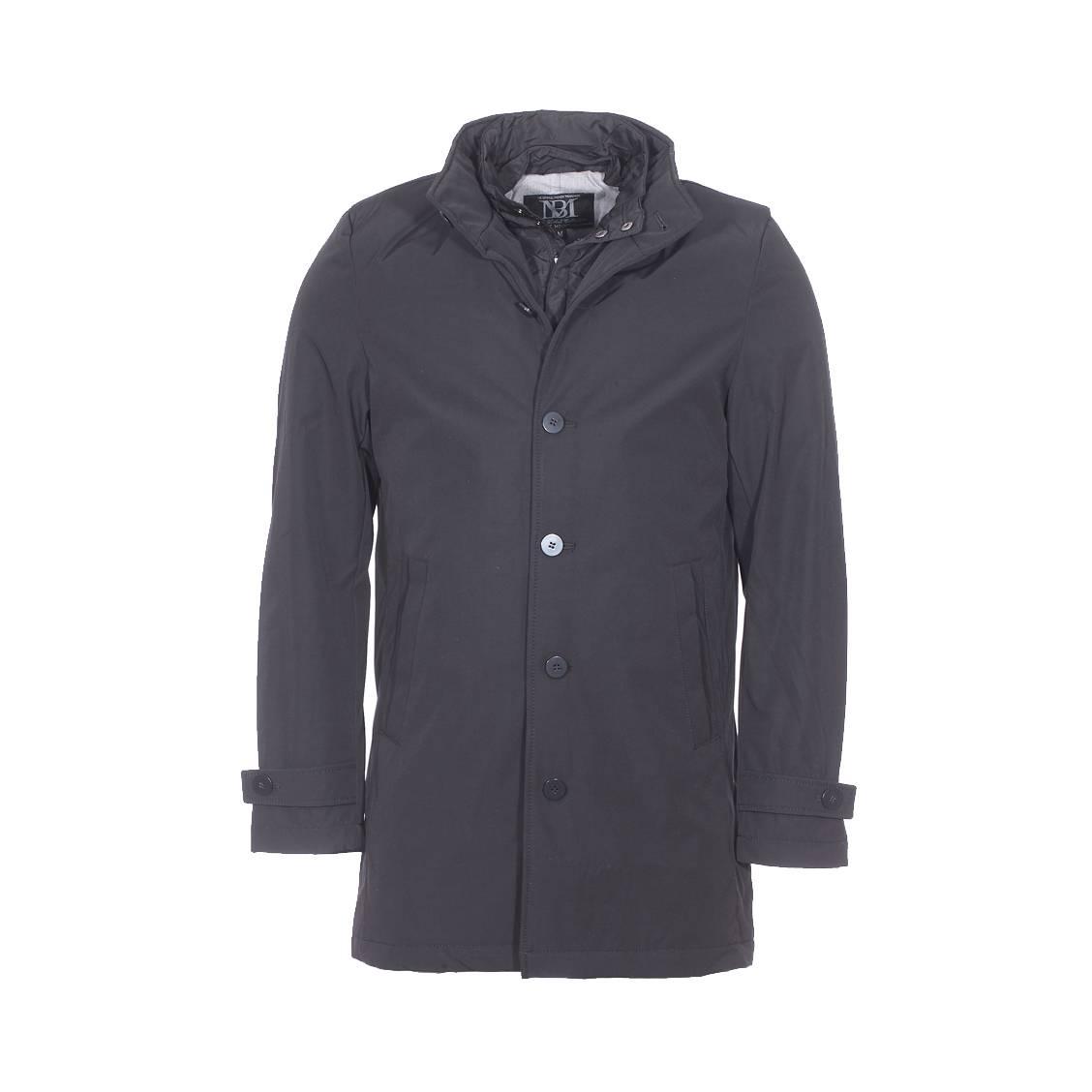 Manteau matelassé  noir à double col