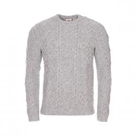 Pull col rond Levi's Fisherman Cable crew en mailles tricotées gris clair