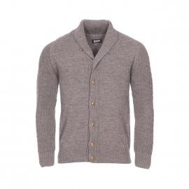 Cardigan Schott NYC Earnest 2 en laine mélangée taupe