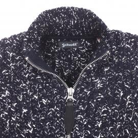 Gilet zippé Schott NYC en mailles tricotées bleu marine et blanches