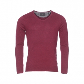 Pull col V Scotch & Soda en coton bordeaux chiné