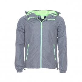 Veste imperméable à capuche Dual zip Superdry gris clair à doublure vert fluo