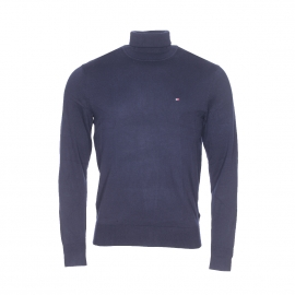 Pull col roulé Tommy Hilfiger en coton et soie bleu marine