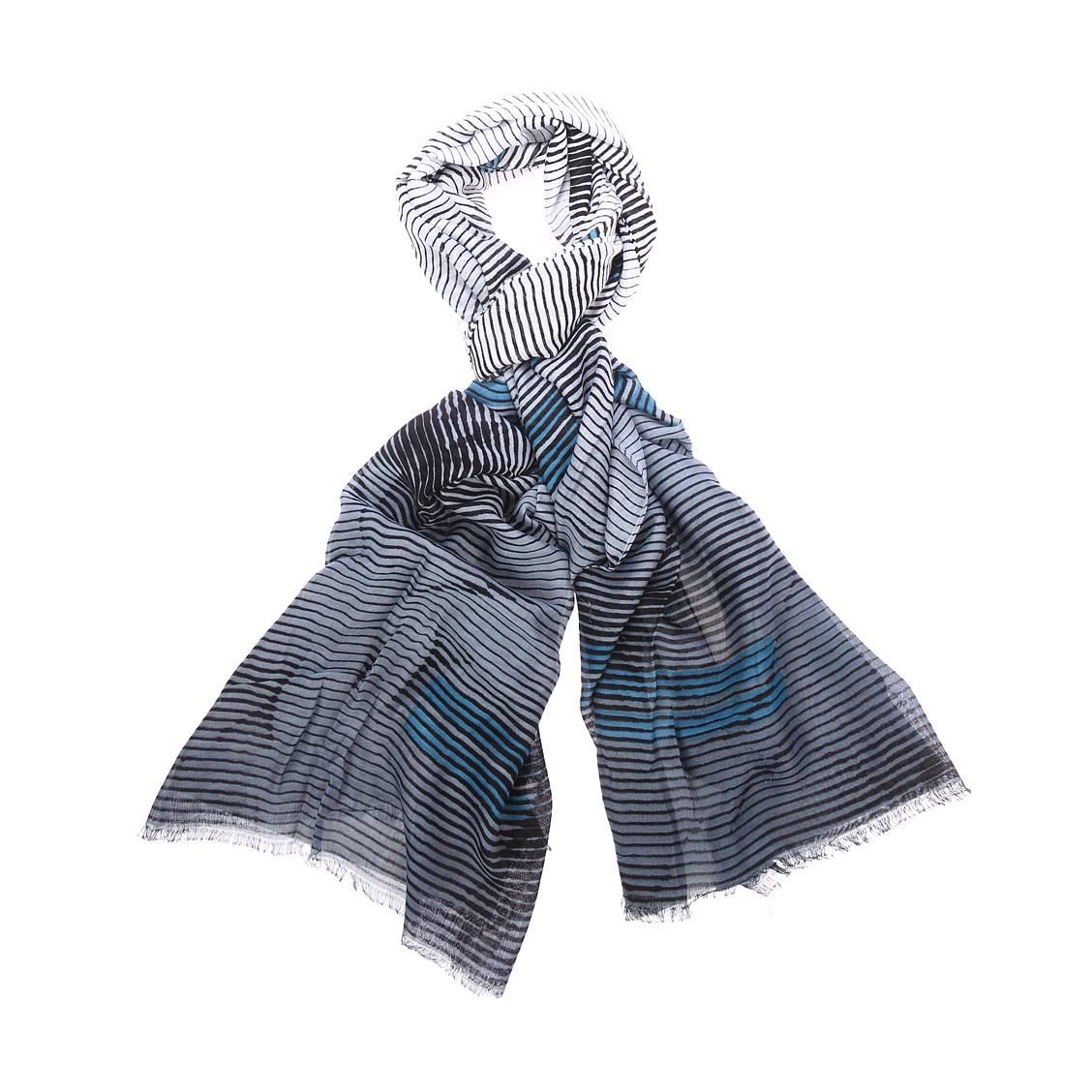 Chèche  en viscose à rayures noires, grises, blanches et bleues