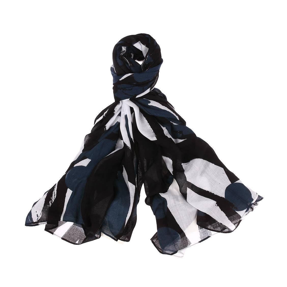 Chèche  noir à motifs géométriques bleus et blancs
