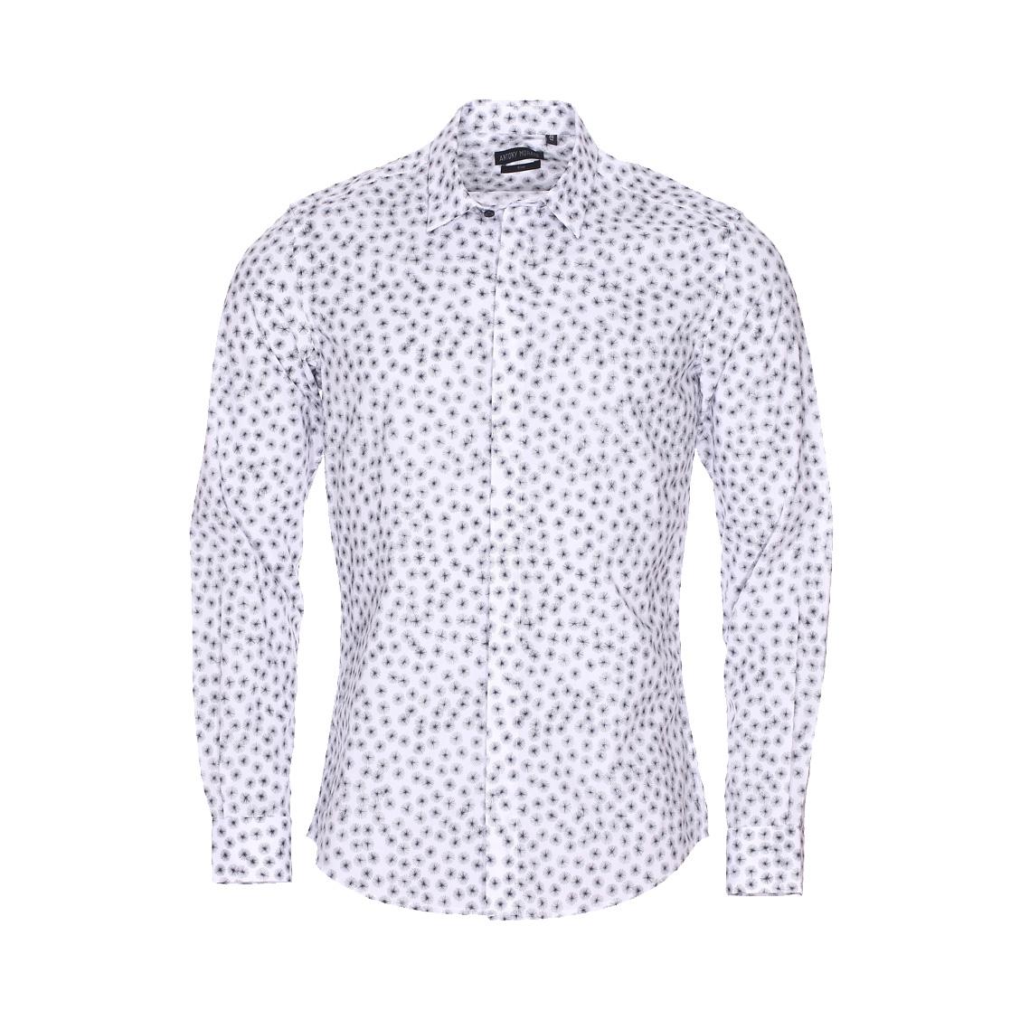 Chemise cintrée  en coton blanc à motifs pissenlits noirs