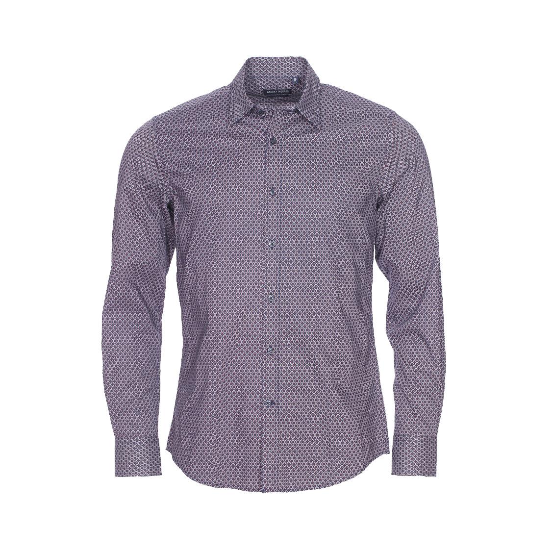 Chemise cintrée  en coton bleu marine à losanges blancs et rouges