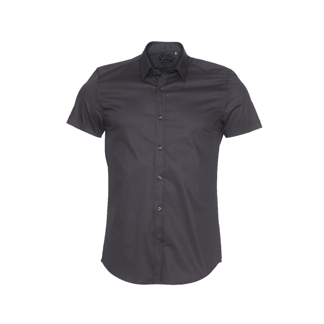 Chemise super slim manches courtes  en coton stretch noir