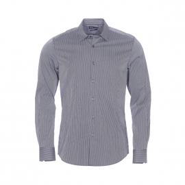 Chemise cintrée Antony Morato en coton bleu marine à fines rayures blanches